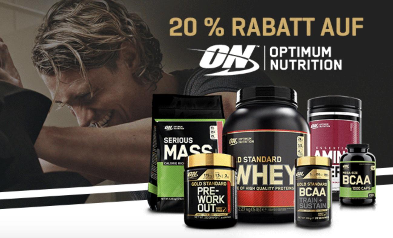 20% Rabatt auf Optimum Nutrition Produkte bei Body&Fit