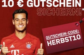 10€ Gutschein auf alles im Bayern Fanshop